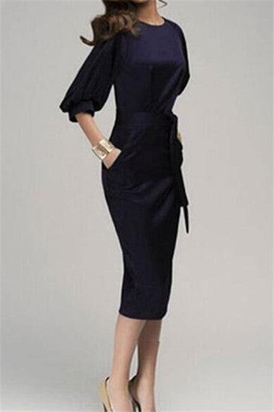 Chicnico Gorgeous Short Sleeve Round Neckline Navy Pencil Dress