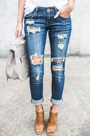 Chicnico Relaxed Blue Destroyed Denim Jeans