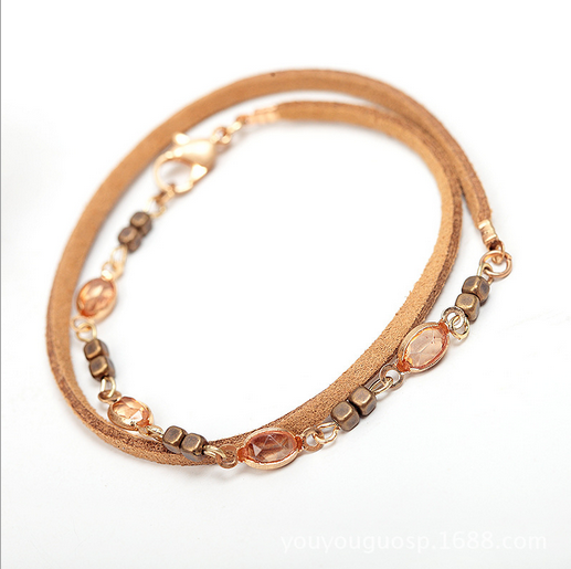 Chicnico Leather Crystal Bracelet