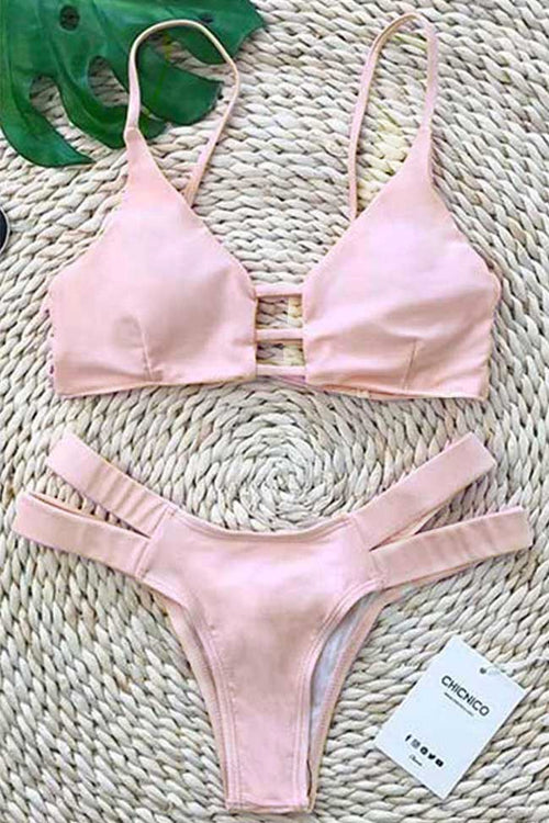 Chicnico Two Piece Cross Plain Pink Bikini Set