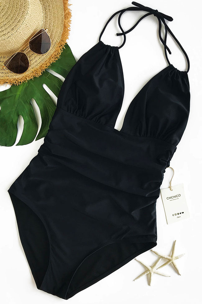 Chicnico One Piece Black Swimwear Backless Bikini Swimsuits