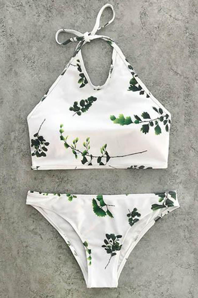 Chicnico Summer Vibes Cute Branches Print Bikini Set