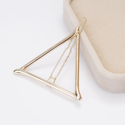 Chicnico Minimalist Dainty Gold Silver Triangle Geometric Metal Hairpin Hair Clip Clamps Accessories