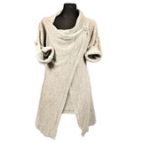 Chicnico Gray Single Button Asymmetrical Hem Coat