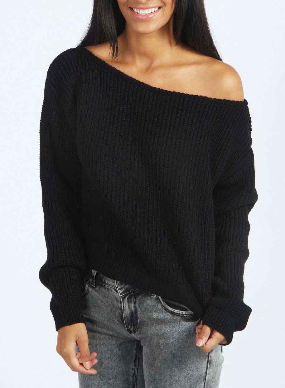 chicnico open shoulder oversized gray knitted sweater. Black Bedroom Furniture Sets. Home Design Ideas