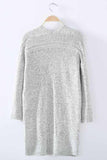 Women's Knit Going out / Street chic  Gray Long Sleeve Cotton Fall Sweaters Cardigan