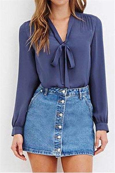 Chicnico Tie Front Flared Sleeve Cropped Chiffon Shirt