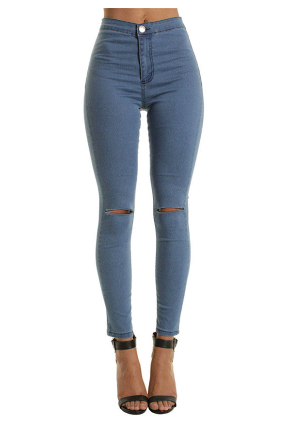 Chicnico Fashion Open Work Knee Skinny Jeans
