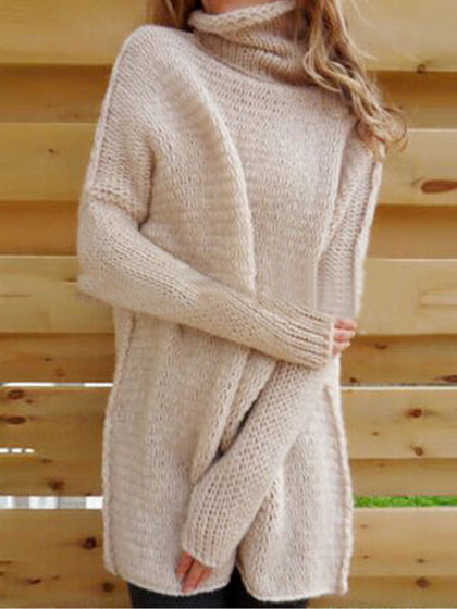 Chicnico Fashion Turtleneck  Long Sleeve Loose Fit Pullover Sweater