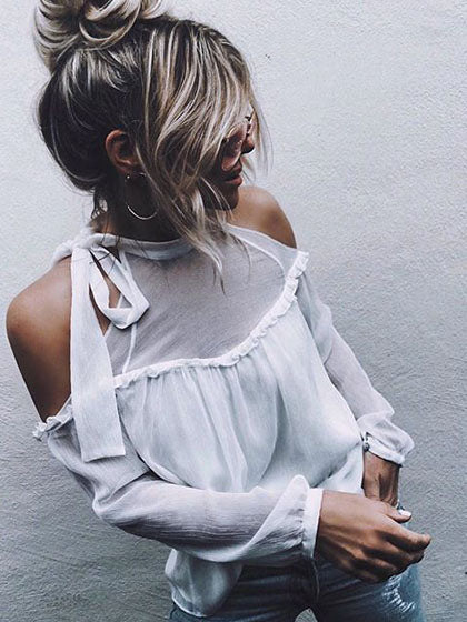 Chicnico Sexy Chiffon Off Shoulder White Long Sleeve Top