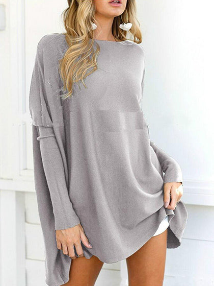 Chicnico Stylish Oversize Solid Color Long Sleeve Top