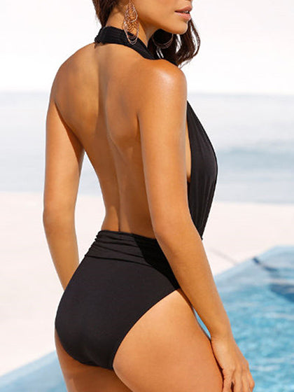 Chicnico Halter Black Solid Sexy One Piece Swimsuit