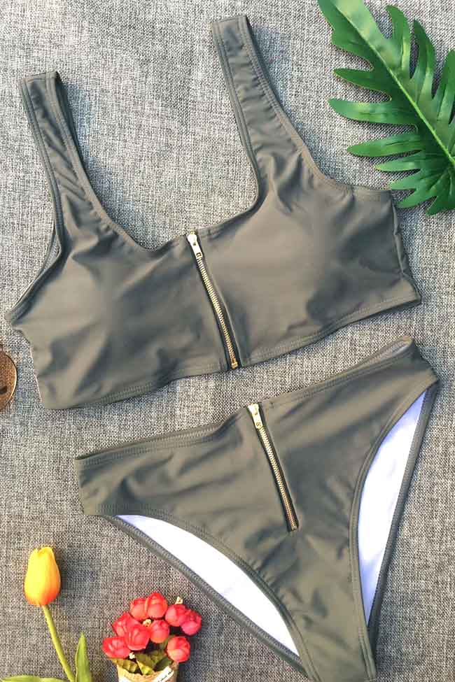 Chicnico Sexy Zipper Front Solid Color Bikini Set