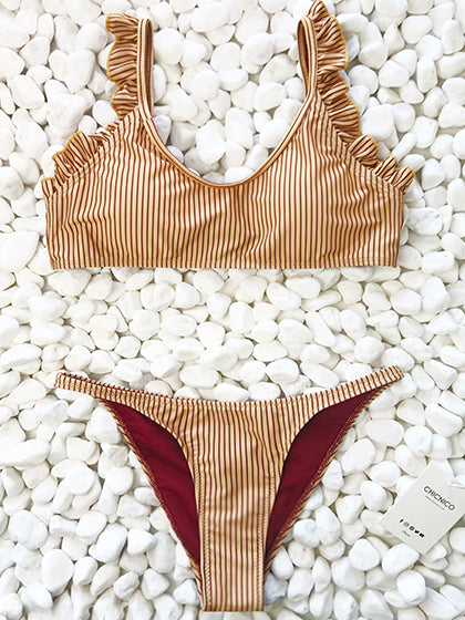 Chicnico Instant Vacation Bandage Striped Bikini Set