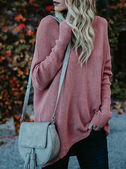 Chicnico Stylish Oversize Casual Solid Color Sweater
