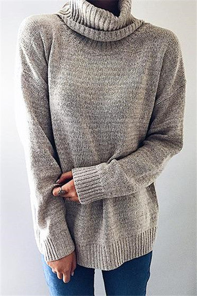 Chicnico Casual Knit High Neck Loose Sweater