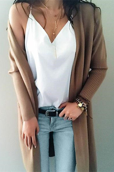 Chicnico Street Casual Knit Solid Color Open Collar Cardigan