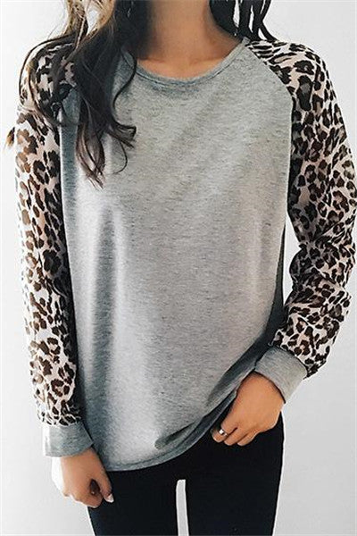 Chicnico Casual Spliced Leopard Print Top