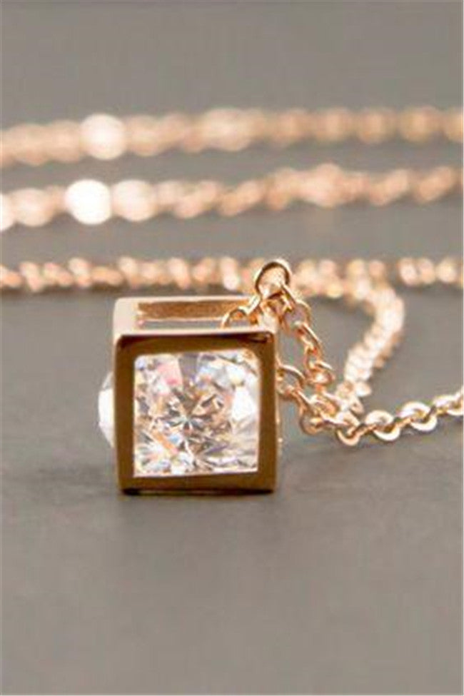 Chicnico Golden Crystal Cubic Necklace