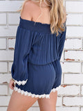 Chicnico Fashion Bateau Off Shoulder Solid Color Romper