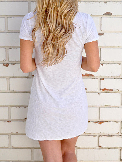 Chicnico Casual V neck Solid Color Short Sleeve Dress