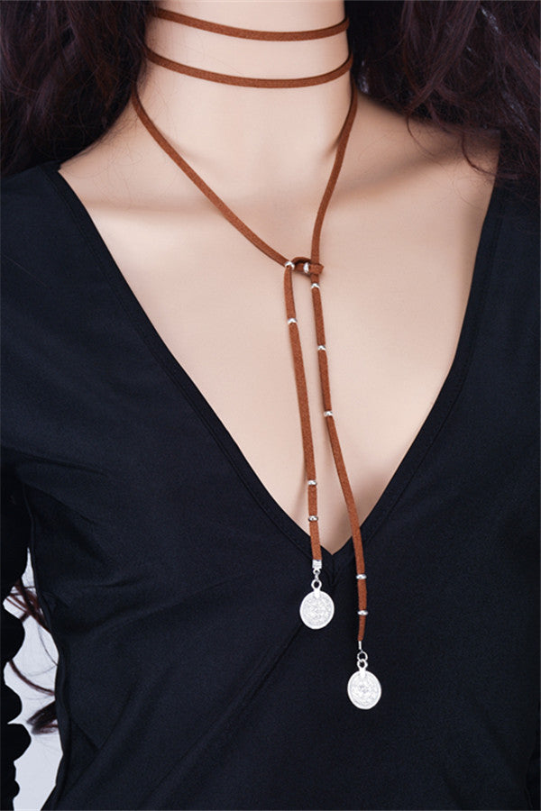 Chicnico Fashion Leather Chains Coin Necklace