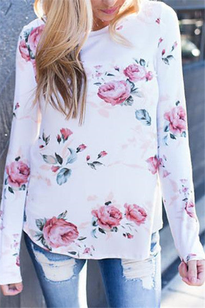 Chicnico  Round Neckline Little Floral Print Top