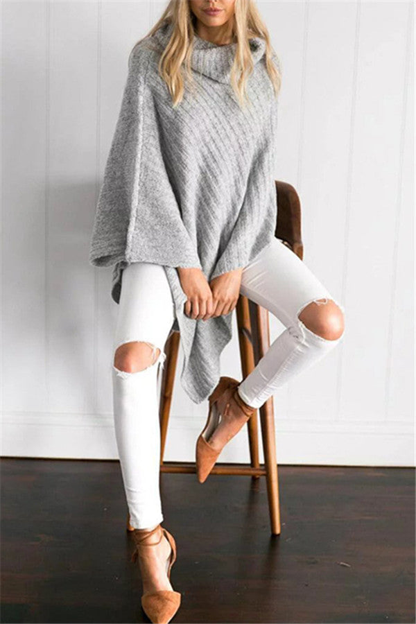Chicnico Irregular Hem Turtleneck Shawl