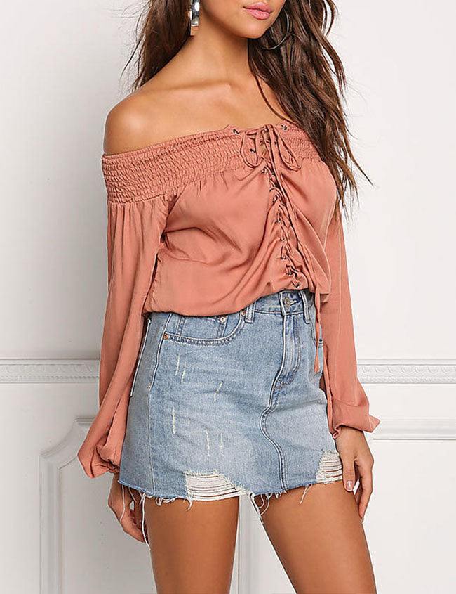 Chicnico Solid Color Long Sleeve Off Shoulder Tee