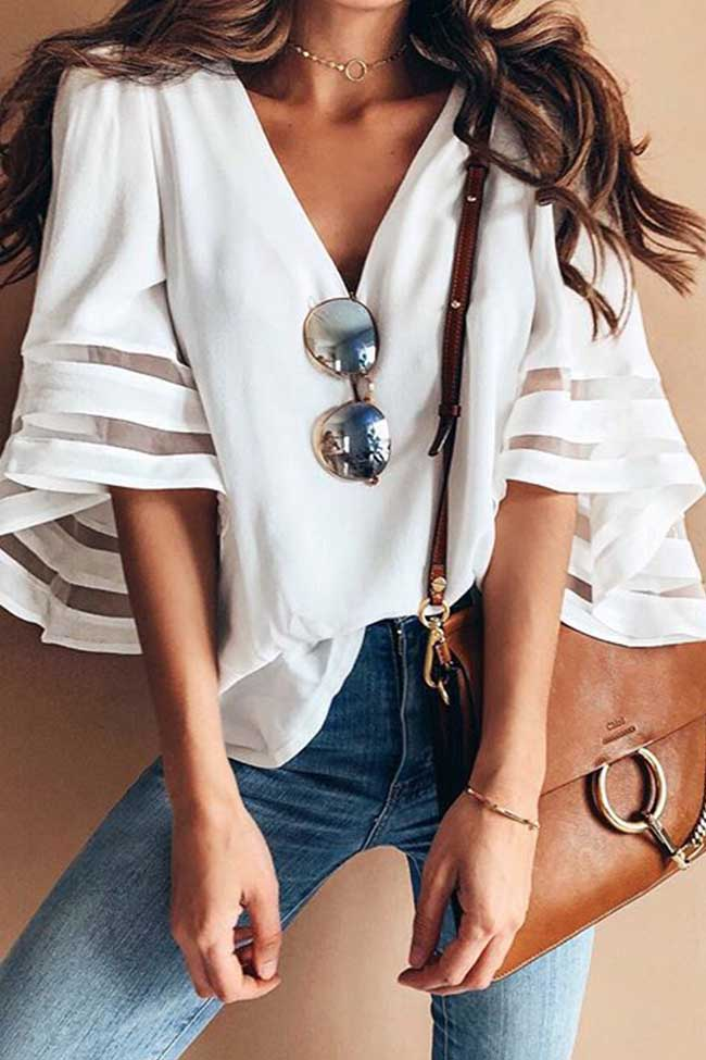 Chicnico Fashion Flounce Sleeve White Blouse Top