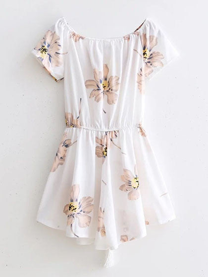 Chicnico Street Fashion Bateau Off Shoulder Floral Print Romper