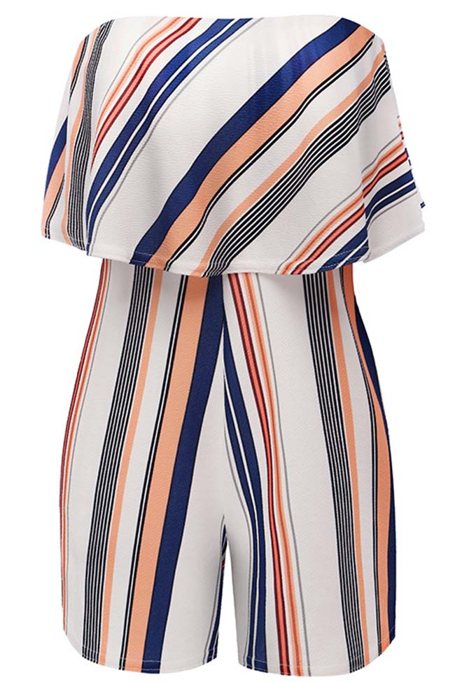 Chicnico Casual Striped Off Shoulder Short Jumpsuit