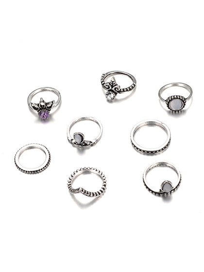Chicnico Boho Vintage Jewelry Style Rings(Set Of 8 )
