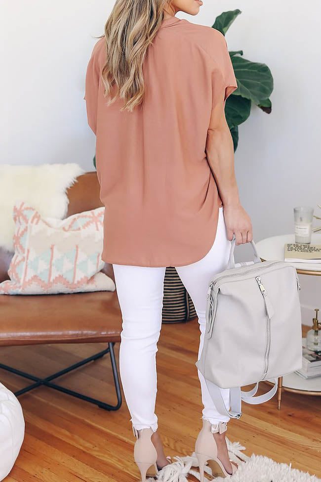Chicnico Simple Solid Color Short Sleeve Chiffon Blouse