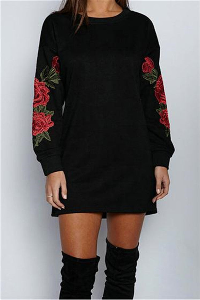 Chicnico Harmony Embroidery Round Neckline Long Sleeve Top Dress