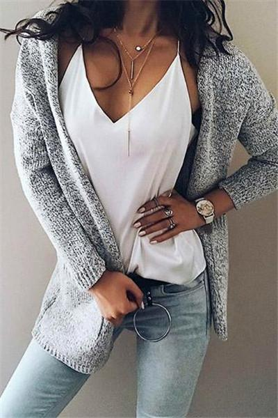 Chicnico Women's Knit Going out Street chic Gray Long Sleeve Cotton Fall Sweaters Cardigan