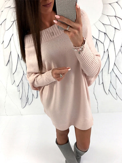 Chicnico Fashion Oversize Long Sleeve Solid Color Sweater