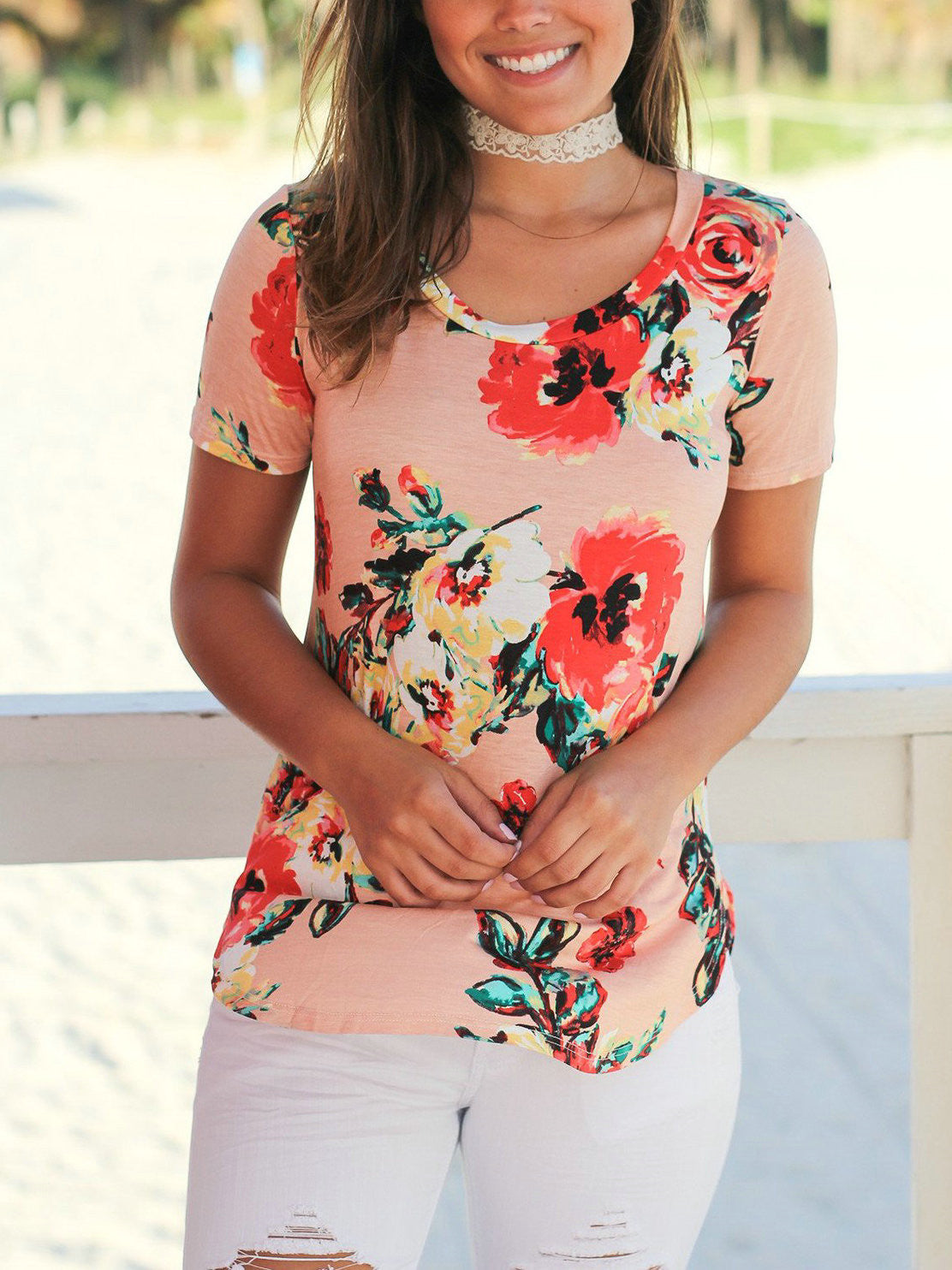 Chicnico Stylish Casual Floral Print Round Neckline Top