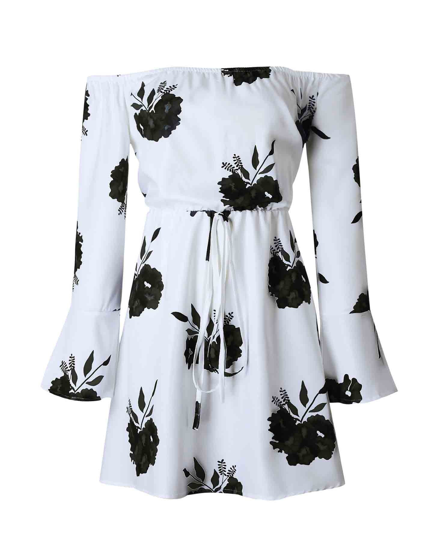 Chicnico Walk My Way Off The Shoulder Floral Print Dress