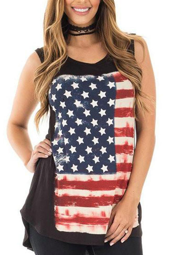 Chicnico American Flag Independence Day Casual Top