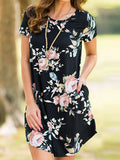 Chicnico Cute Casual Round Neckline Floral Print Dress