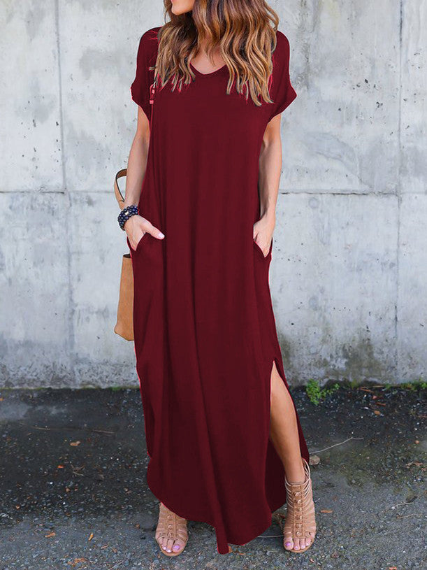 Chicnico Casual Short Sleeve Split Loose Maxi Dress