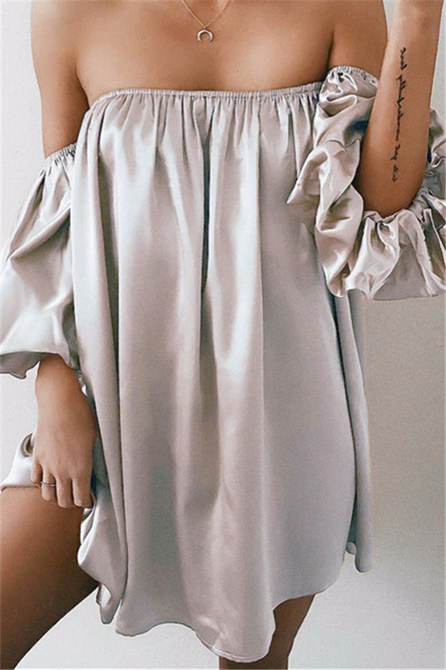 Chicnico Sexy Ballon Sleeve Off Shoulder Solid Color Loose Mini Dress