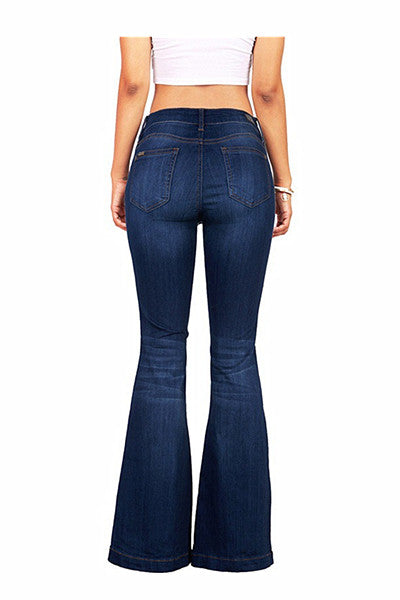Chicnico Fashion Flared Hem Button Up Denim Jeans