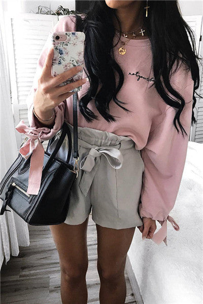 Chicnico Cute Bow Tie Cuff Pink Crop Top