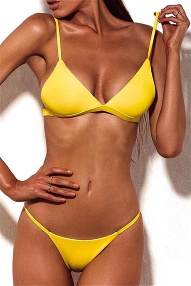 Chicnico Sexy Slim Solid Color Bikini Set