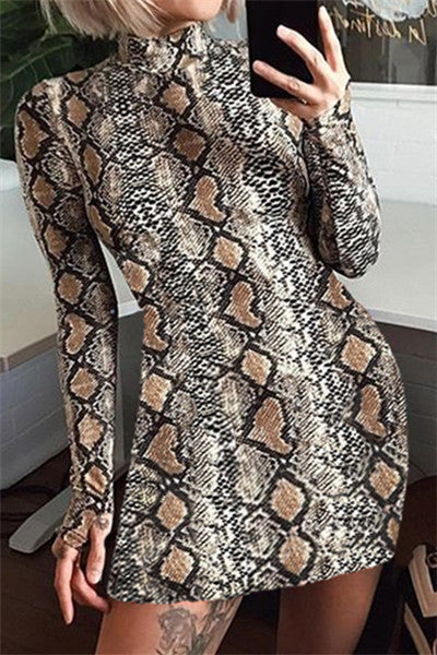 Chicnico Sexy Snake Printed Bodycon Mini Dress