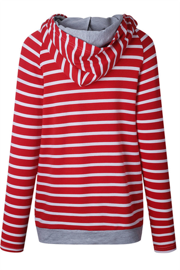 Chicnico Casual Side Zippered Striped Hoodie