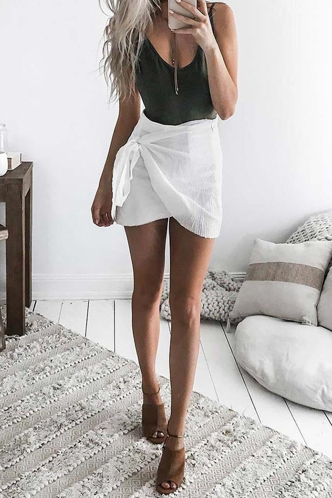 Chicnico Casual Solid Color Wrap Mini Skirt