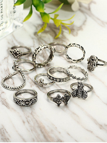 Chicnico Boho Vintage Hollow out Alloy Rings (Set Of 13 )